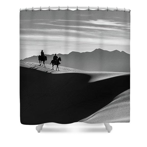 Horseback At White Sands Shower Curtain