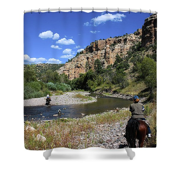 Horseback In The Gila Wilderness Shower Curtain