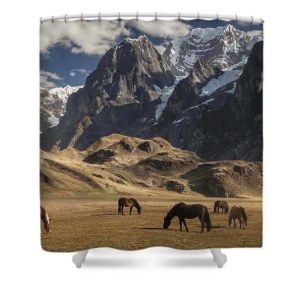 Horses Grazing Under Siula Grande Shower Curtain