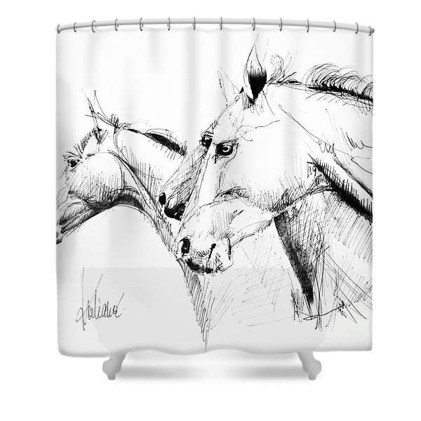 Horses - Ink Drawing Shower Curtain