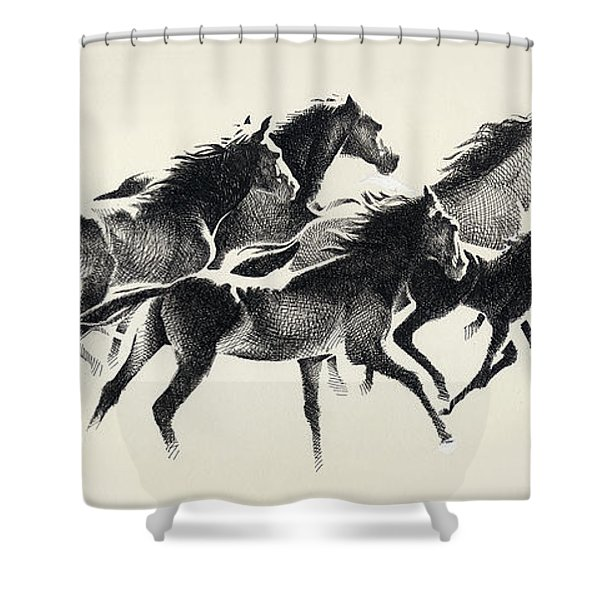 Horses Mug Shower Curtain