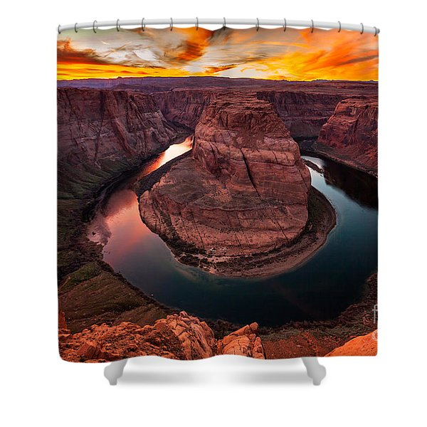 Shower Curtain featuring the photograph Horseshoe Bend, Colorado River, Page, Arizona  by Bryan Mullennix