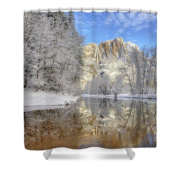 Horsetail Fall Reflections Winter Yosemite National Park Shower Curtain