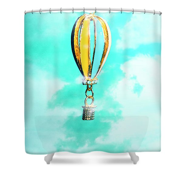 Hot Air Balloon Pendant Over Cloudy Background Shower Curtain