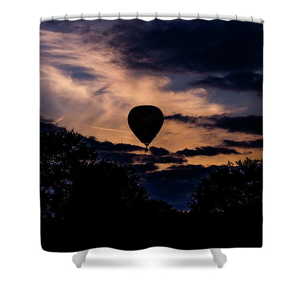 Shower Curtain featuring the photograph Hot Air Balloon Silhouette At Dusk by Scott Lyons
