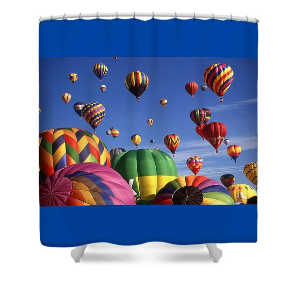 Beautiful Balloons On Blue Sky - Color Photo Shower Curtain