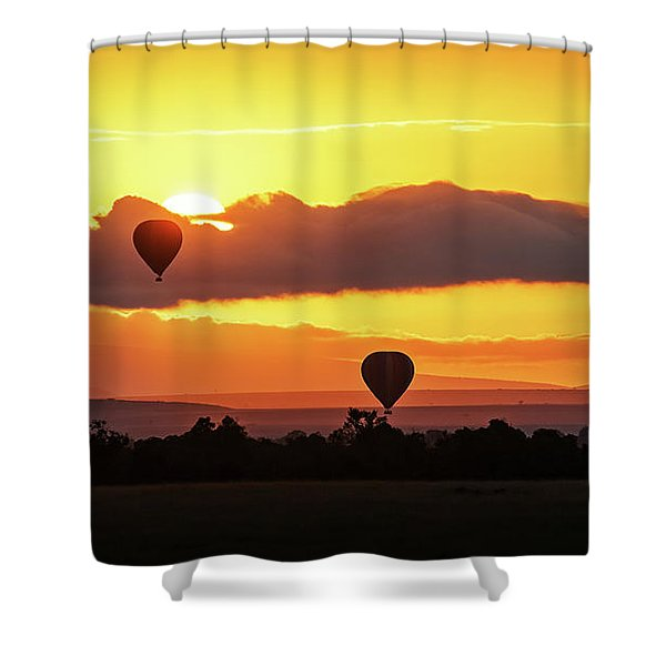 Hot Air Balloons In Surise Orange Africa Sky Shower Curtain