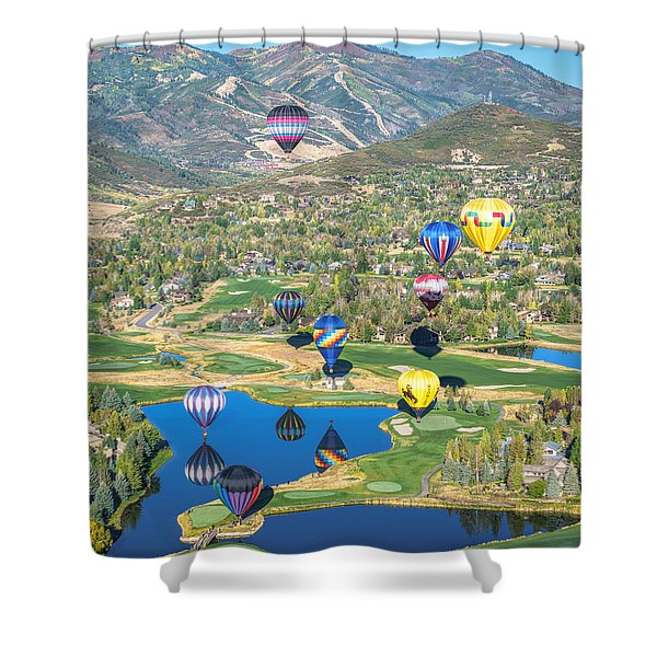 Hot Air Balloons Over Park City Shower Curtain