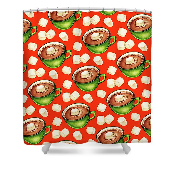 Hot Cocoa Pattern Shower Curtain