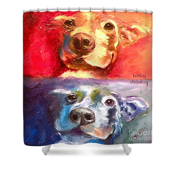 Hot Dog Chilly Dog Study Shower Curtain