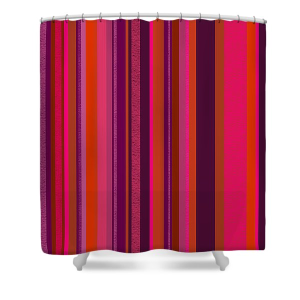 Hot Pink And Orange Stripes - Two Shower Curtain