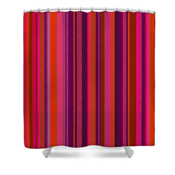 Hot Pink And Orange Stripes Shower Curtain