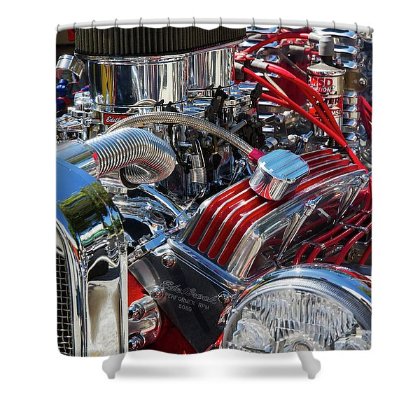 Hot Rod Engine Shower Curtain