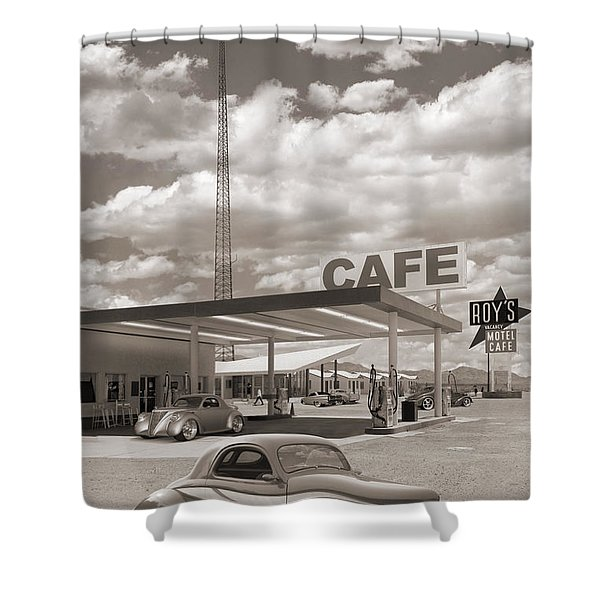 Hot Rods At Roy's Gas Station Sepia Shower Curtain