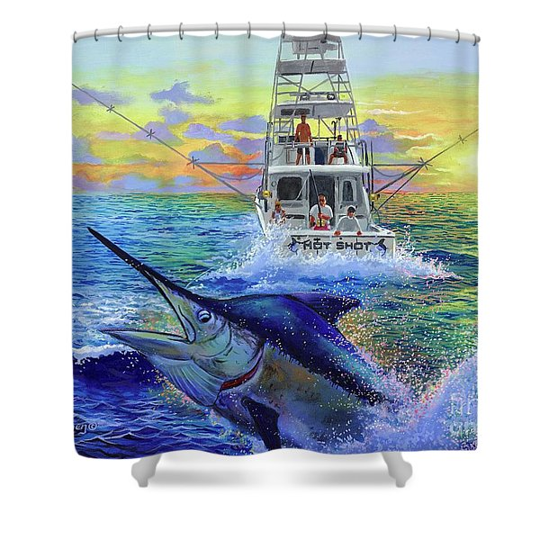 Hot Shot Marlin  Shower Curtain