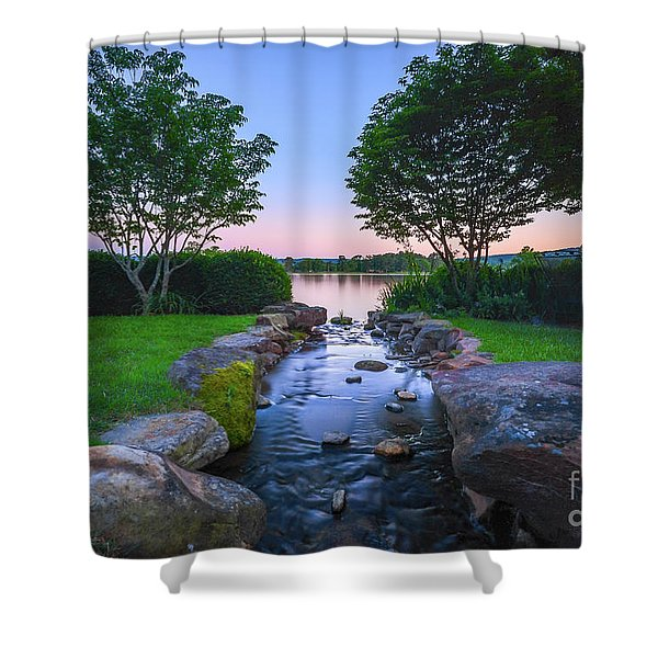 Hot Spring Water Flow Shower Curtain