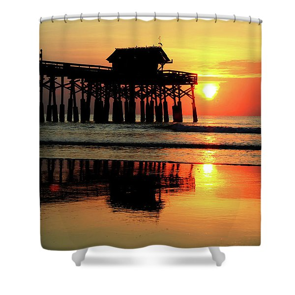 Hot Sunrise Over Cocoa Beach Pier  Shower Curtain