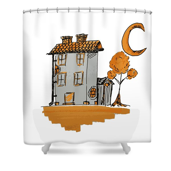 House And Moon Shower Curtain