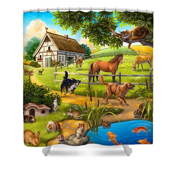 House Animals Shower Curtain