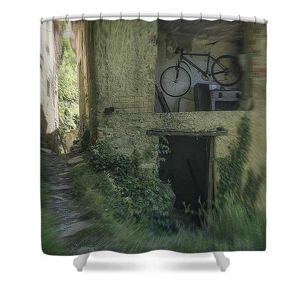 House With Bycicle Shower Curtain