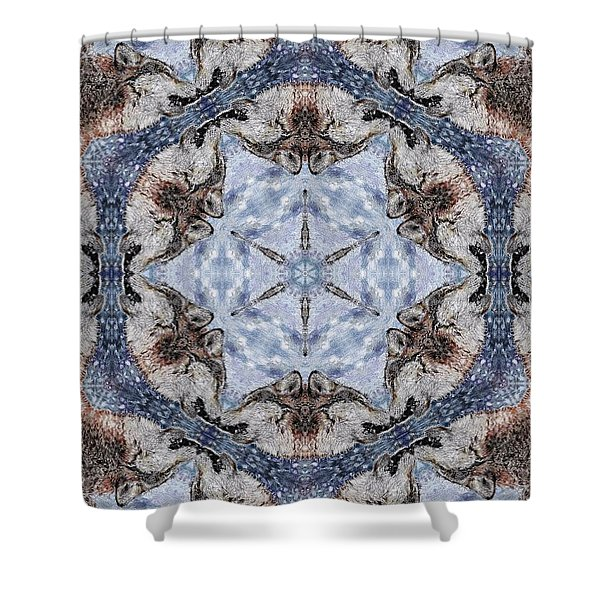 Howling Gray Wolf Kaleidoscope Shower Curtain