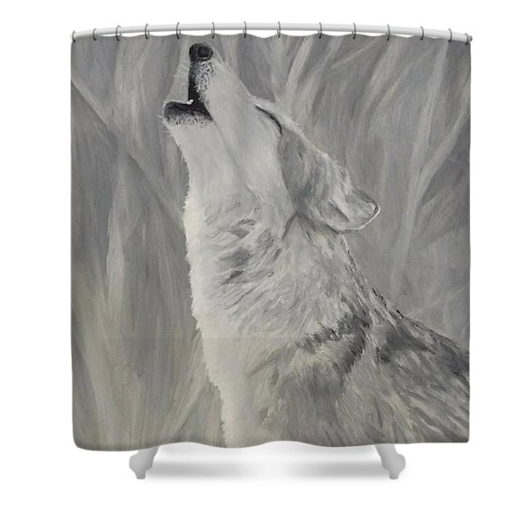 Shower Curtain featuring the painting Howling Wolf by Kevin Daly
