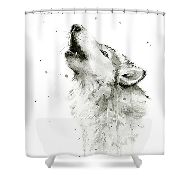 Howling Wolf Watercolor Shower Curtain