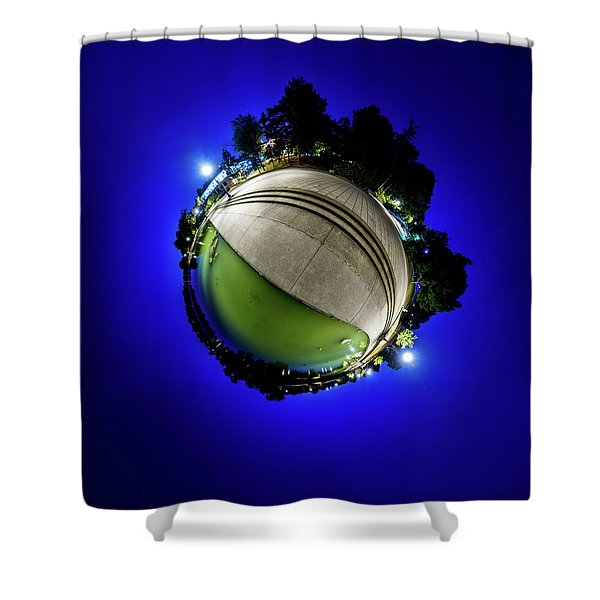 Hoyt Lake At Delaware Park - Tiny Planet Shower Curtain