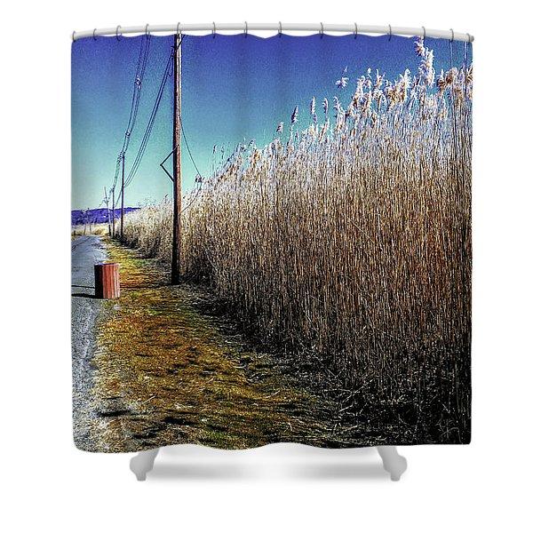Hudson River Winter Walk Shower Curtain