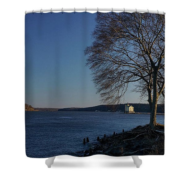 Shower Curtain featuring the photograph Hudson River With Lighthouse by Nancy De Flon