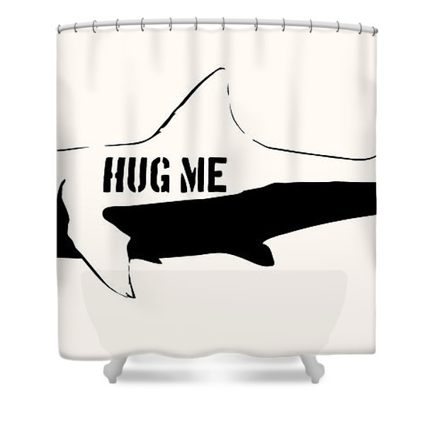 Hug Me Shark - Black  Shower Curtain