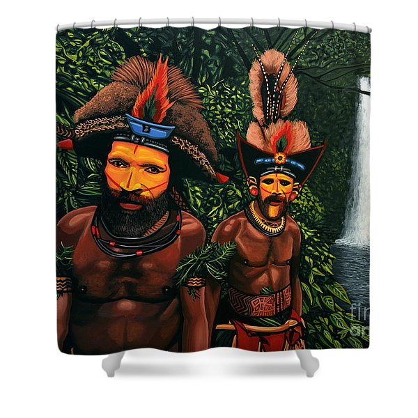 Huli Men In The Jungle Of Papua New Guinea Shower Curtain