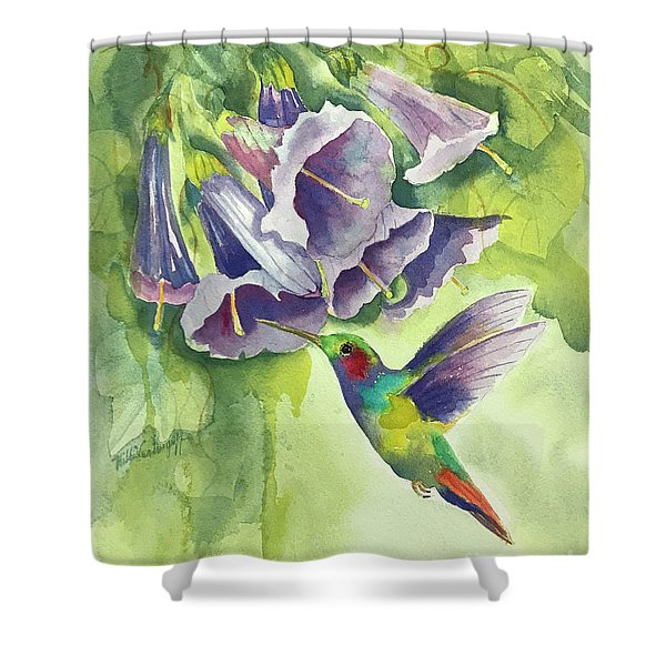 Hummingbird And Trumpets Shower Curtain