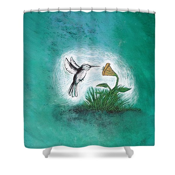 Shower Curtain featuring the painting Hummingbird by Antonio Romero