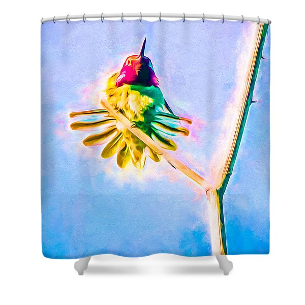 Shower Curtain featuring the mixed media Hummingbird Art - Energy Glow by Priya Ghose