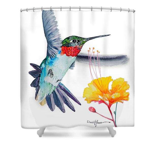 Da169 Hummingbird Flittering Daniel Adams Shower Curtain