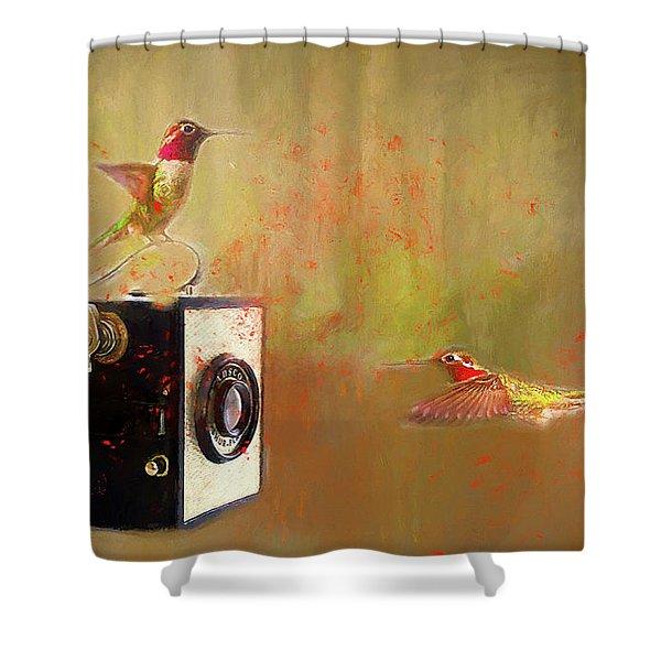 Hummingbird Photo Shoot Shower Curtain