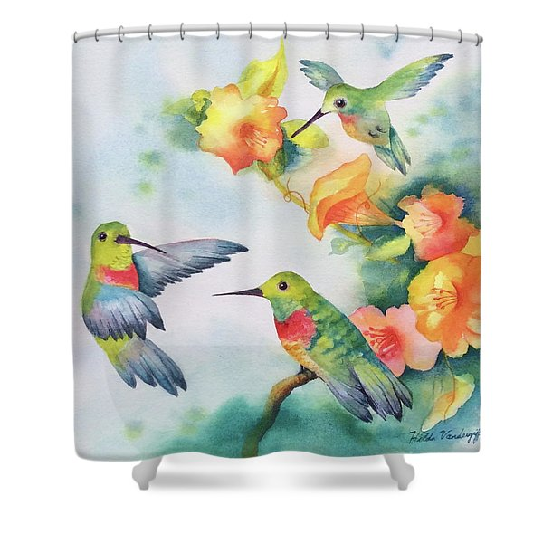 Hummingbirds With Orange Flowers Shower Curtain