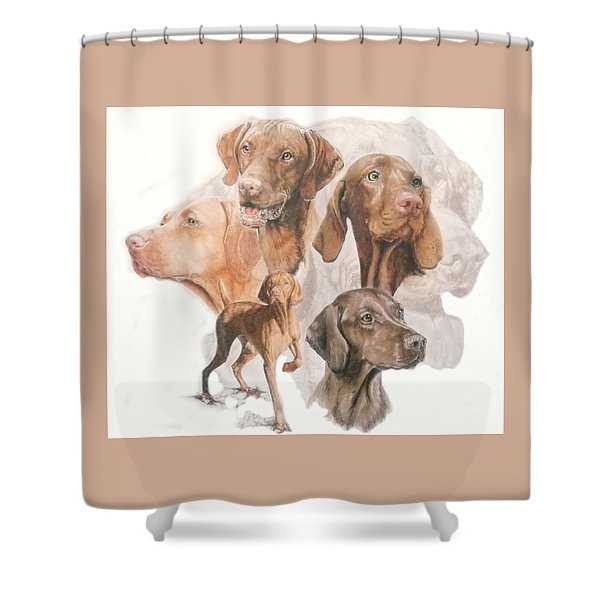 Shower Curtain featuring the mixed media Hungarian Vizsla Medley by Barbara Keith
