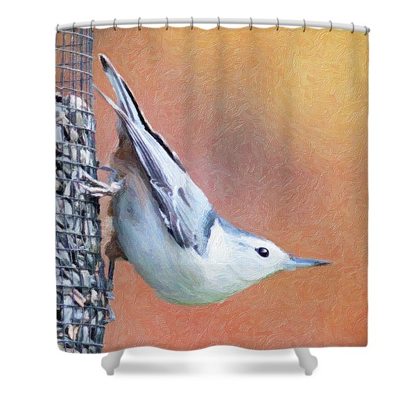 Hungry Nuthatch Shower Curtain