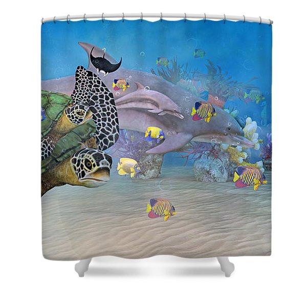 Huntington Beach Imaginative  Shower Curtain