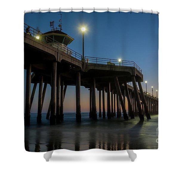 Huntington Beach Pier At Dusk Shower Curtain