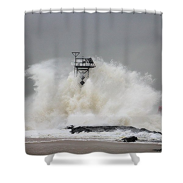 Hurricane Jose Wave At The Inlet Jetty Shower Curtain