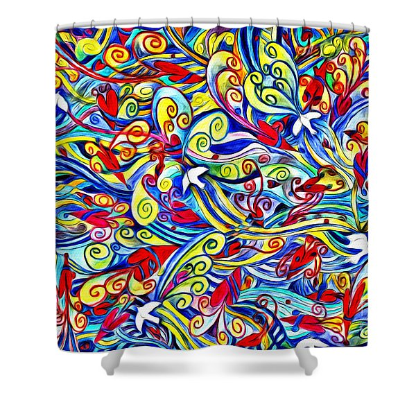 Hurricane Of Doves And Hearts Shower Curtain