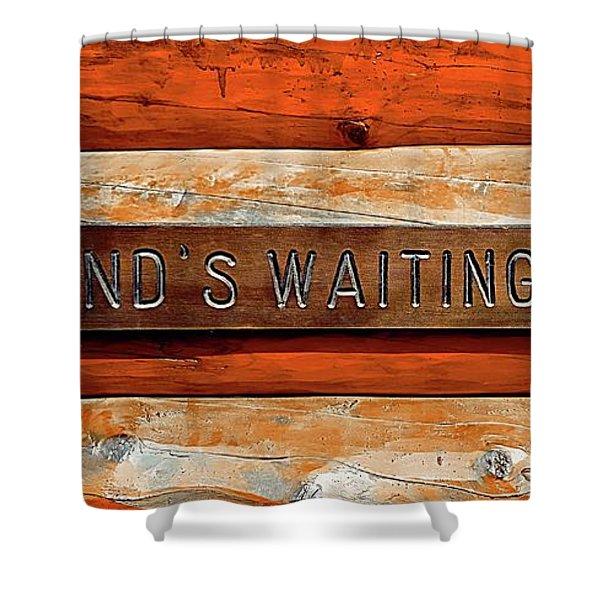 Husband's Waiting Bench - Denali National Park Shower Curtain