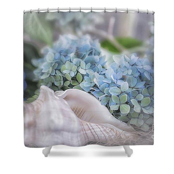 Hydrangeas By The Sea Shower Curtain
