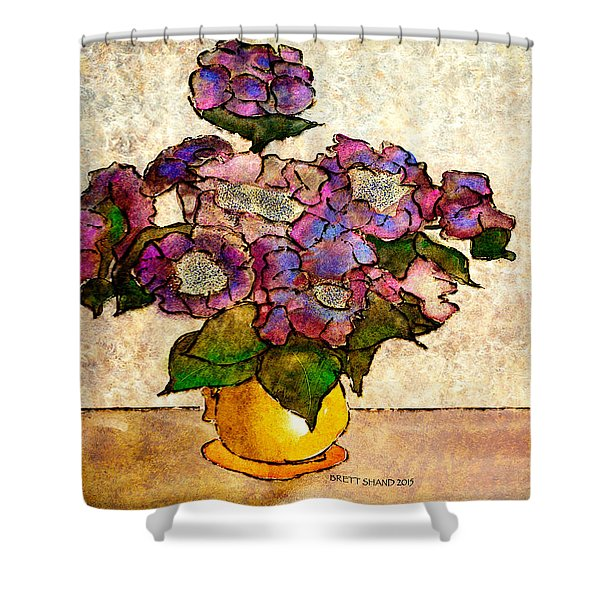 Hydrangeas In Yellow Jug Shower Curtain