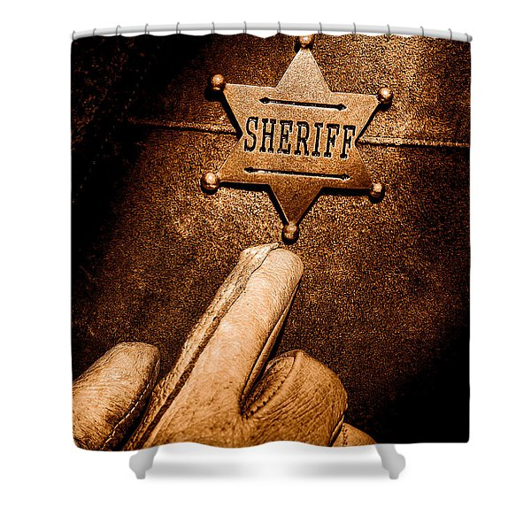 I Am The Law - Sepia Shower Curtain