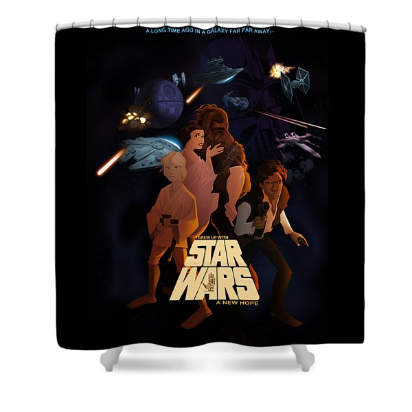 Shower Curtain featuring the digital art I Grew Up With Starwars by Nelson Dedos  Garcia