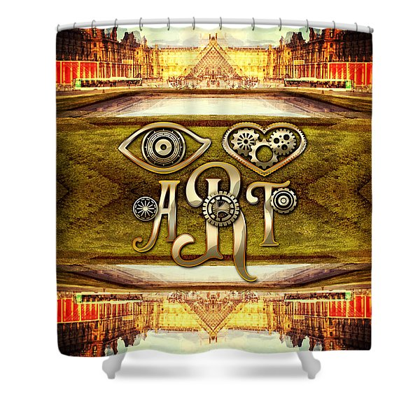 I Heart Art Louvre Museum Paris Da Vinci Gears Shower Curtain